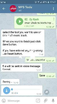 ربات تبدیل ویس به mp3 اموزش ارسال آهنگmp3 به صورت ویس voice با کیفیت در تلگرام